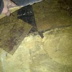 Asbestos containing black floor tile mastic